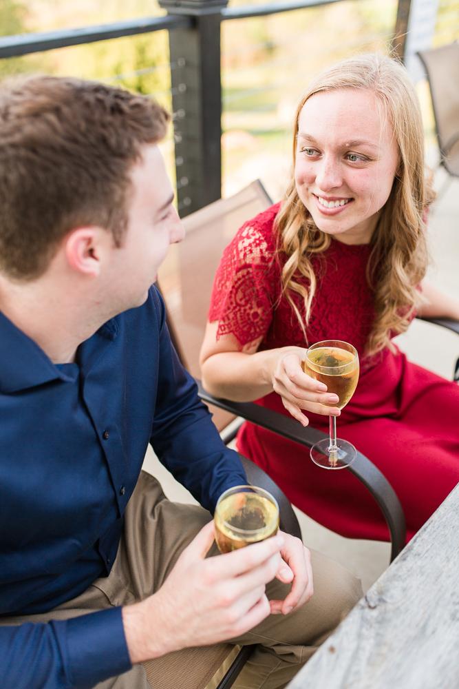 Drinking wine at Blue Valley Vineyard