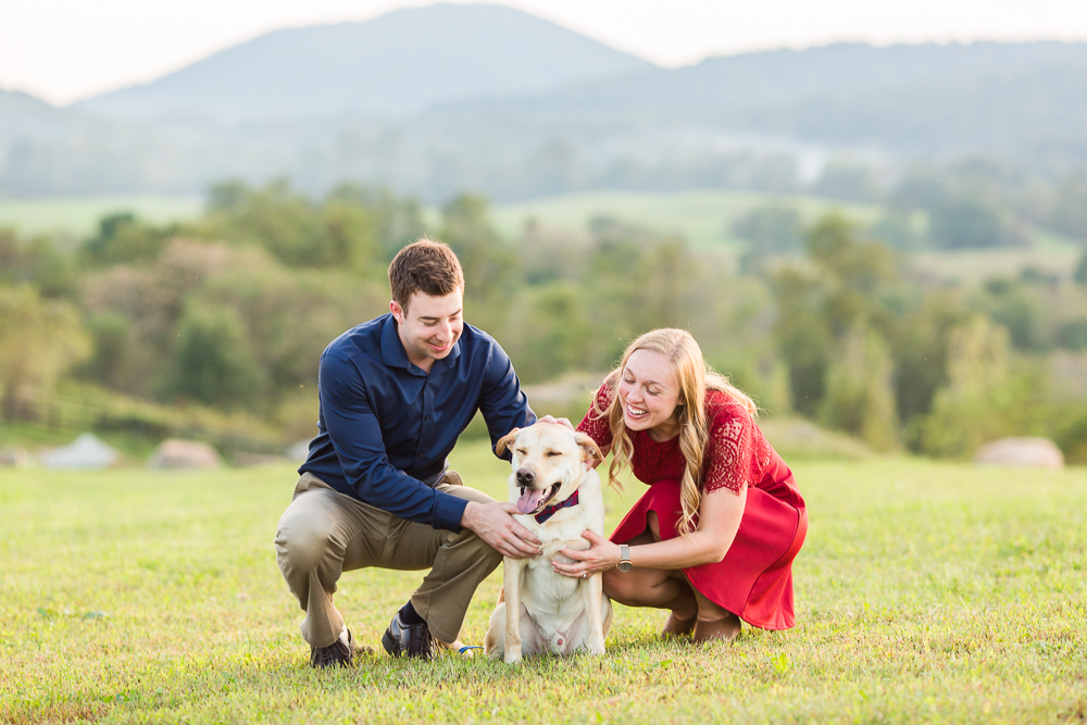 Dog lovers engagement session at Blue Valley Vineyard   Winery engagement photos   Megan Rei Photography