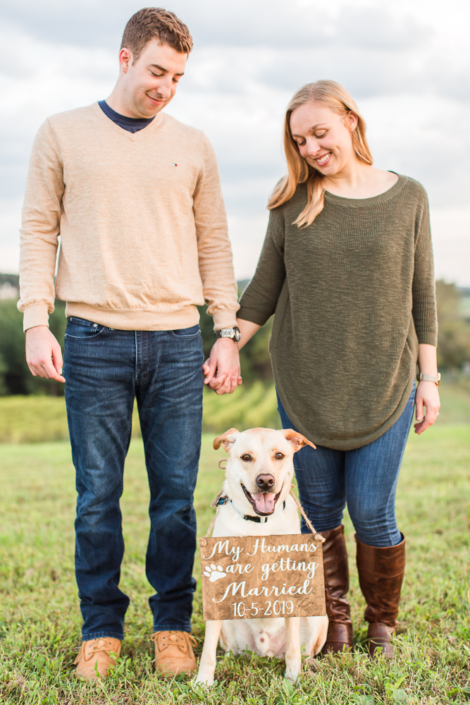 Dog parents with their pup during engagement pictures