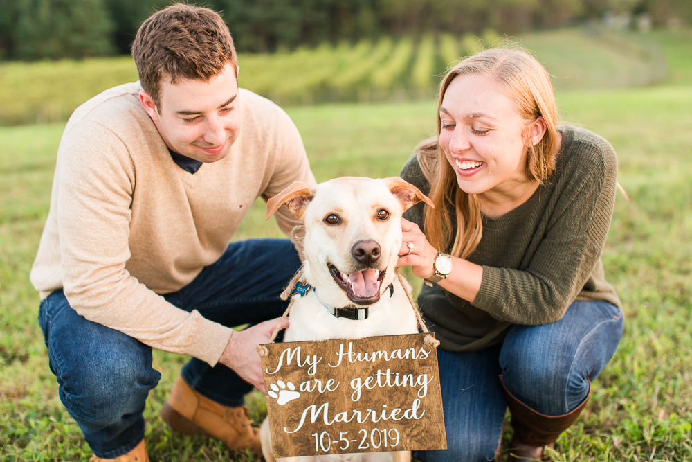 Candid engagement picture of couple with their rescue dog   Megan Rei Photography   Northern Virginia Engagement Photographer