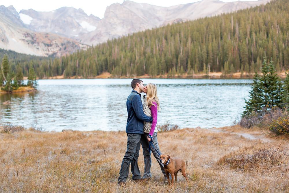 Adventure engagement photos at Long Lake with a dog