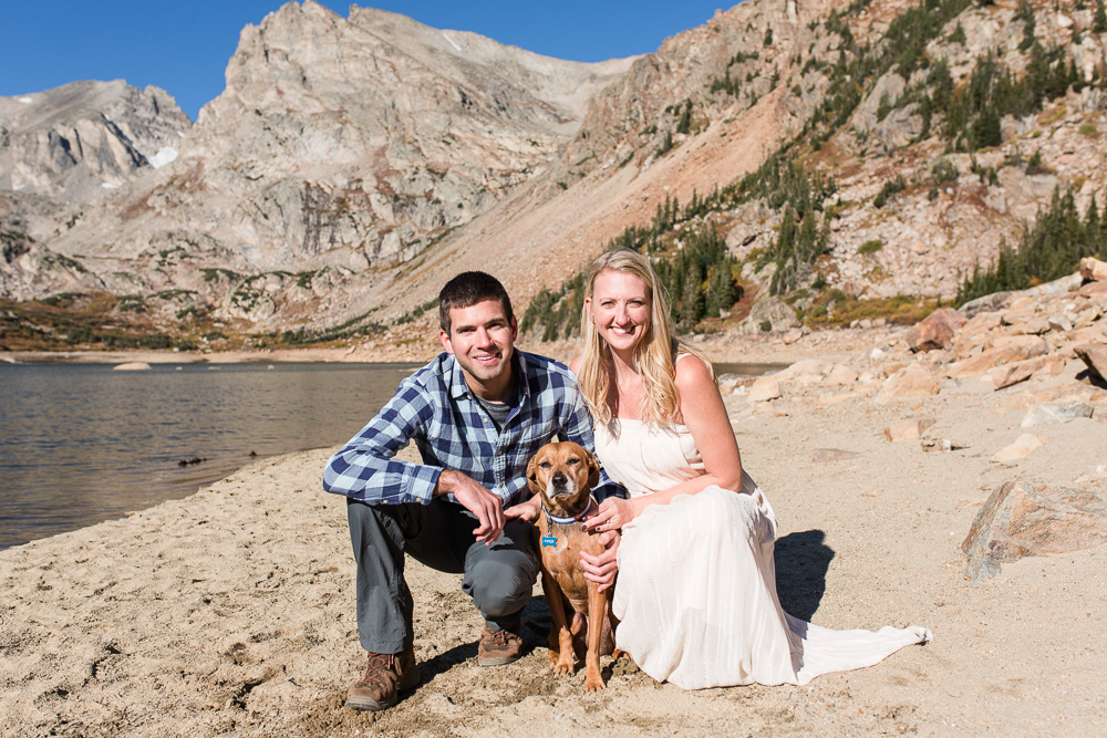 Indian Peaks Wildnerness engagement session | Adventurous couple with their dog