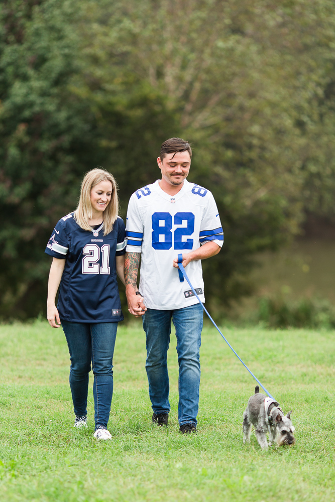 Football fans engagement session with their dog