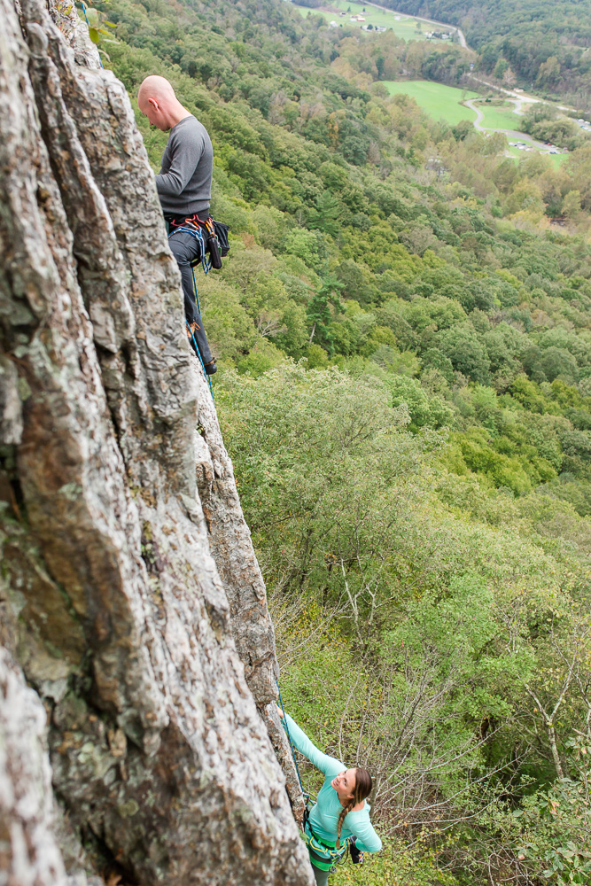 Northern Virginia adventure engagement photography | Rock climbers engagement pictures at Seneca Rocks
