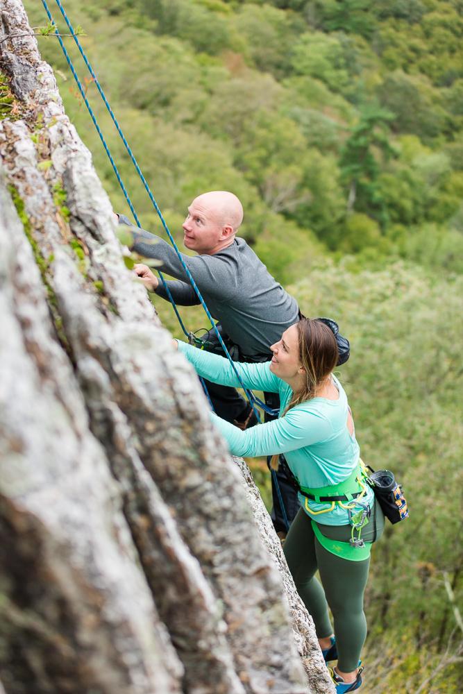 Candid rock climbing photo at Seneca Rocks in West Virginia