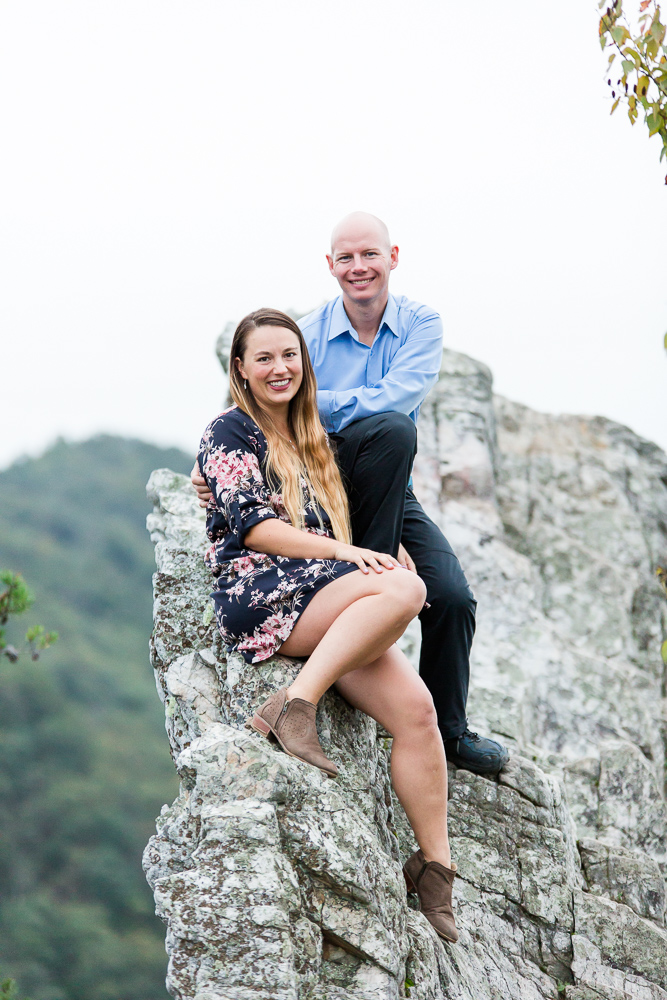 Engagement pictures on top of the crag at Seneca Rocks | Hiking engagement photographer