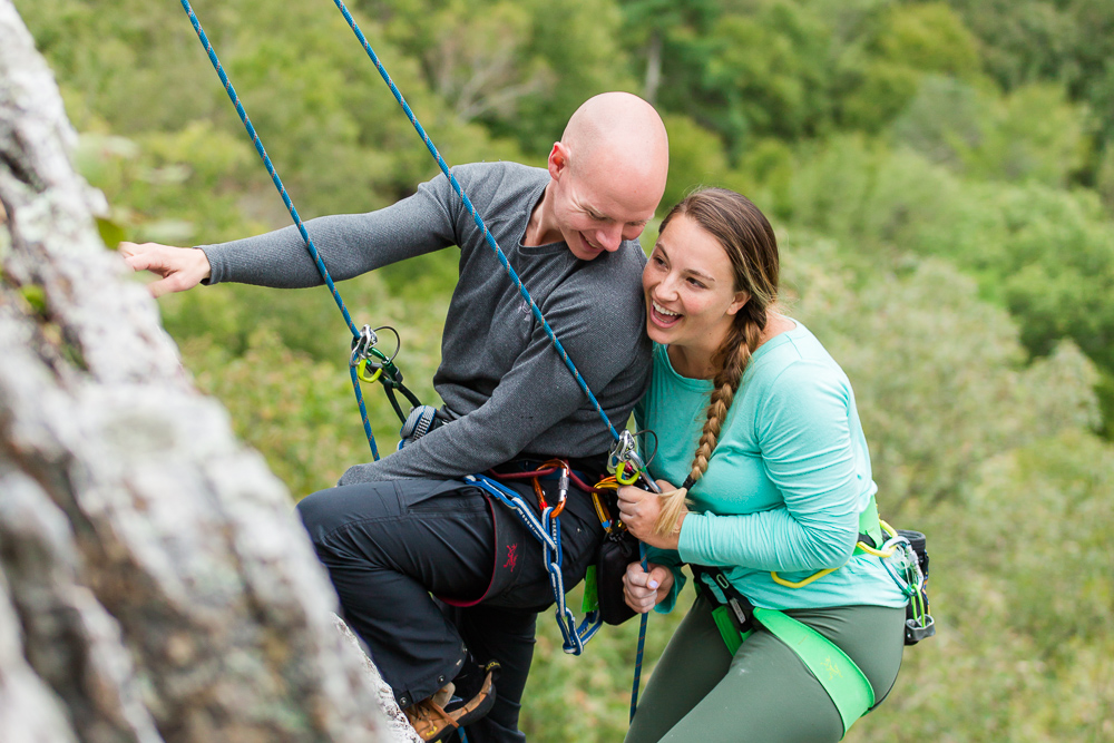 Rock climbing engagement pictures at Seneca Rocks, WV | Adventure engagement photos near Northern Virginia