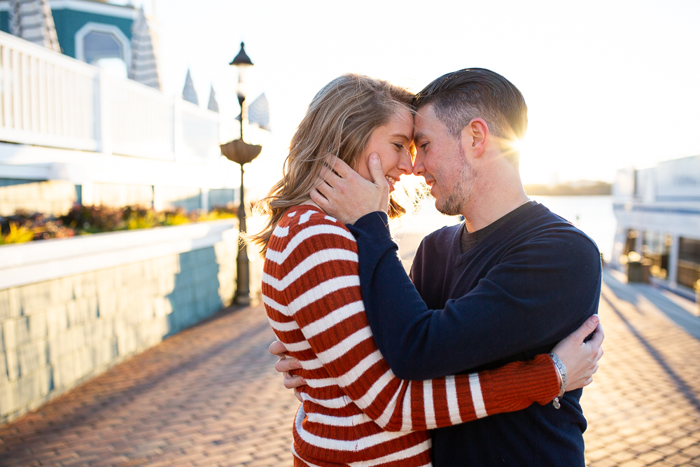 Sunrise engagement pictures at the Old Town Alexandria waterfront   Alexandria Engagement Photography
