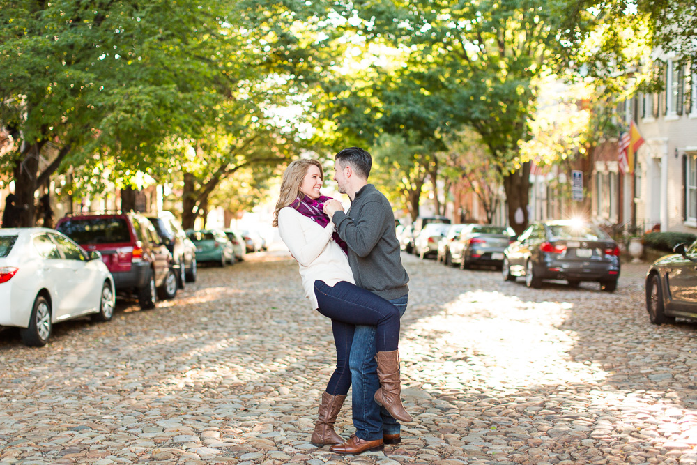 Old Town Alexandria engagement photo on the cobblestones of Prince Street