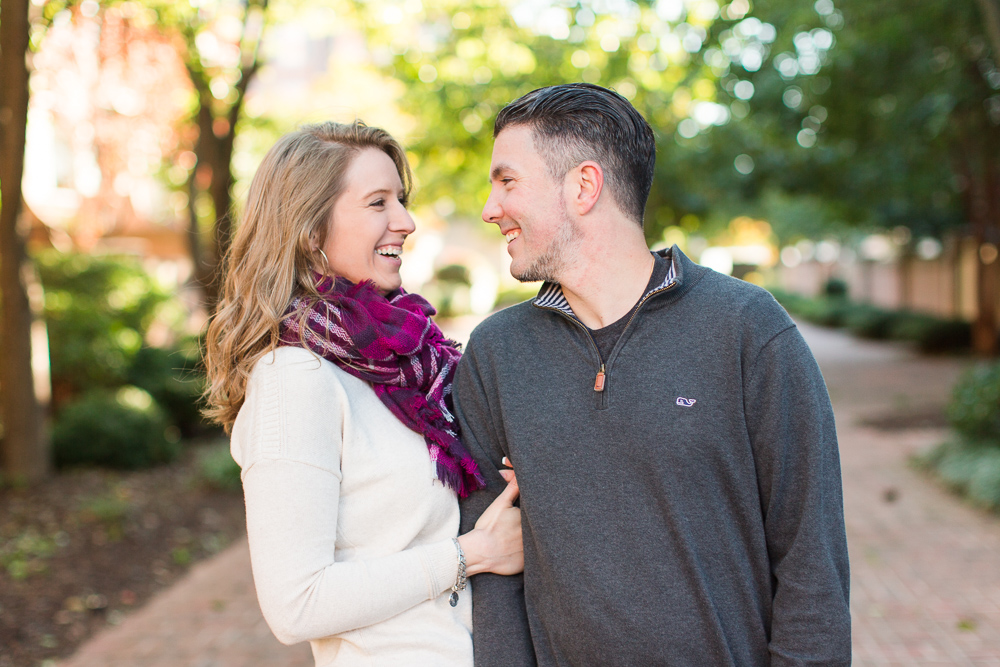 Fun, candid engagement photography in Old Town Alexandria, Virginia