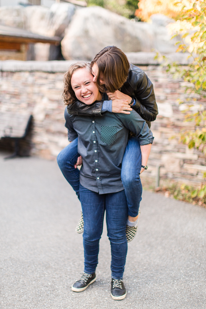 Fun piggy back ride picture during engagement pictures in Washington DC