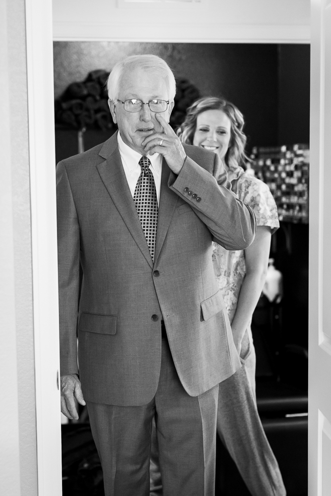 Dad first look seeing the bride for the first time | Candid Denver wedding photographer
