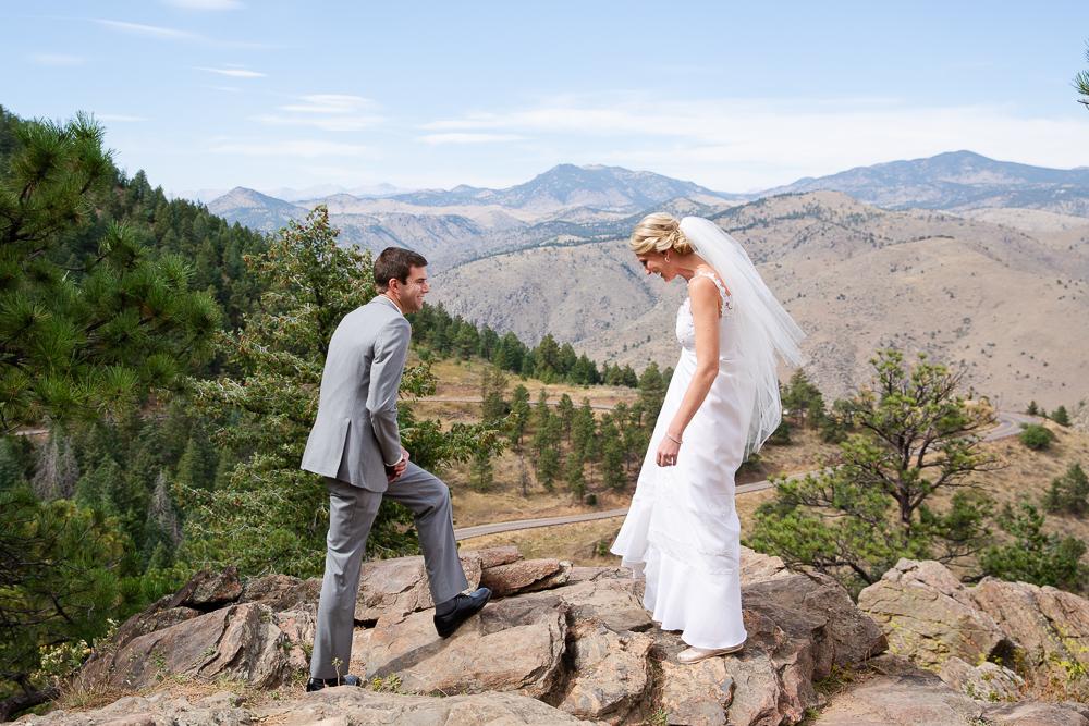 Bride and groom first look wedding photos at Lookout Mountain in Golden, Colorado | Denver Mountain Wedding Photographer