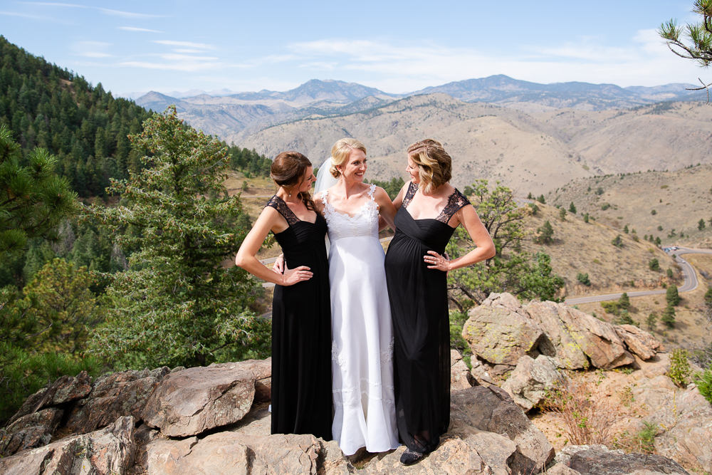 Bride with her bridesmaids in the mountains of Colorado