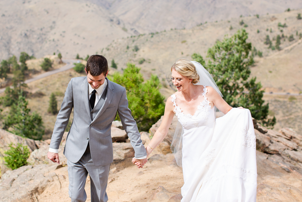 Candid wedding picture at Lookout Mountain in Golden, CO