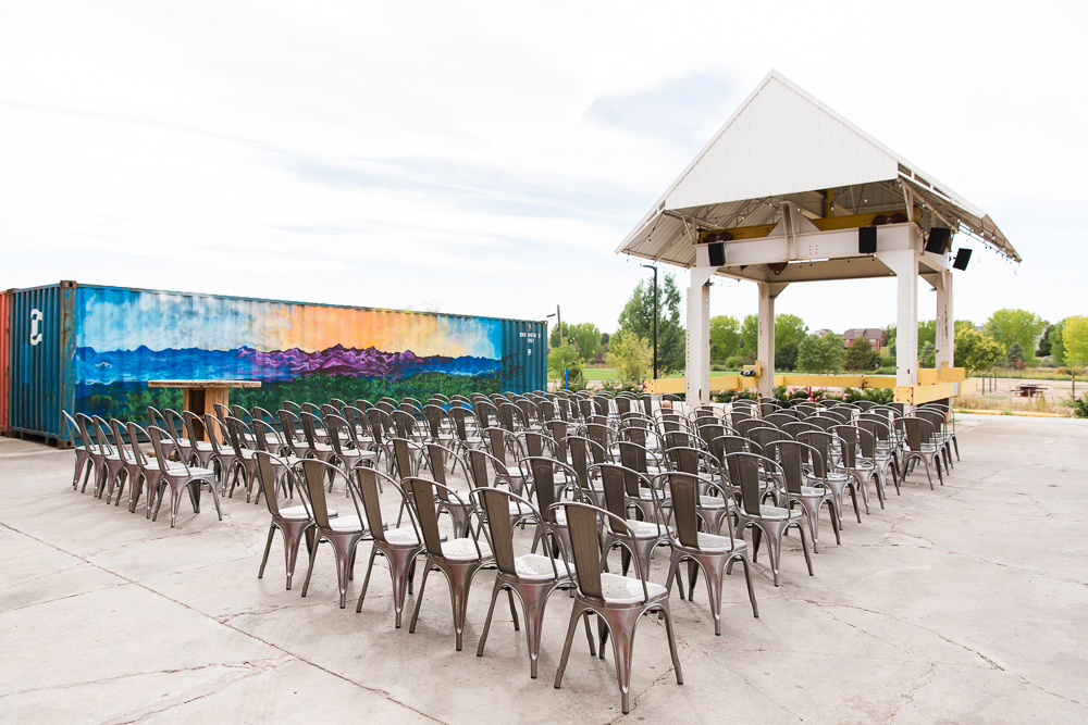 Ceremony site at The Hangar at Stanley Marketplace in Aurora, CO | Best Colorado outdoor wedding venues