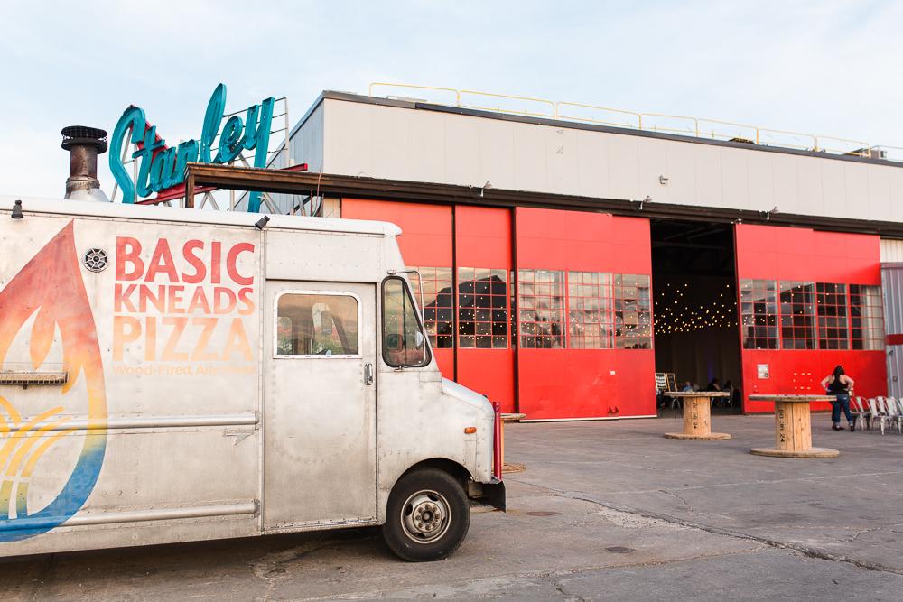 Basic Kneads Pizza providing fun wedding reception food at Stanley Marketplace | Denver, Colorado wedding