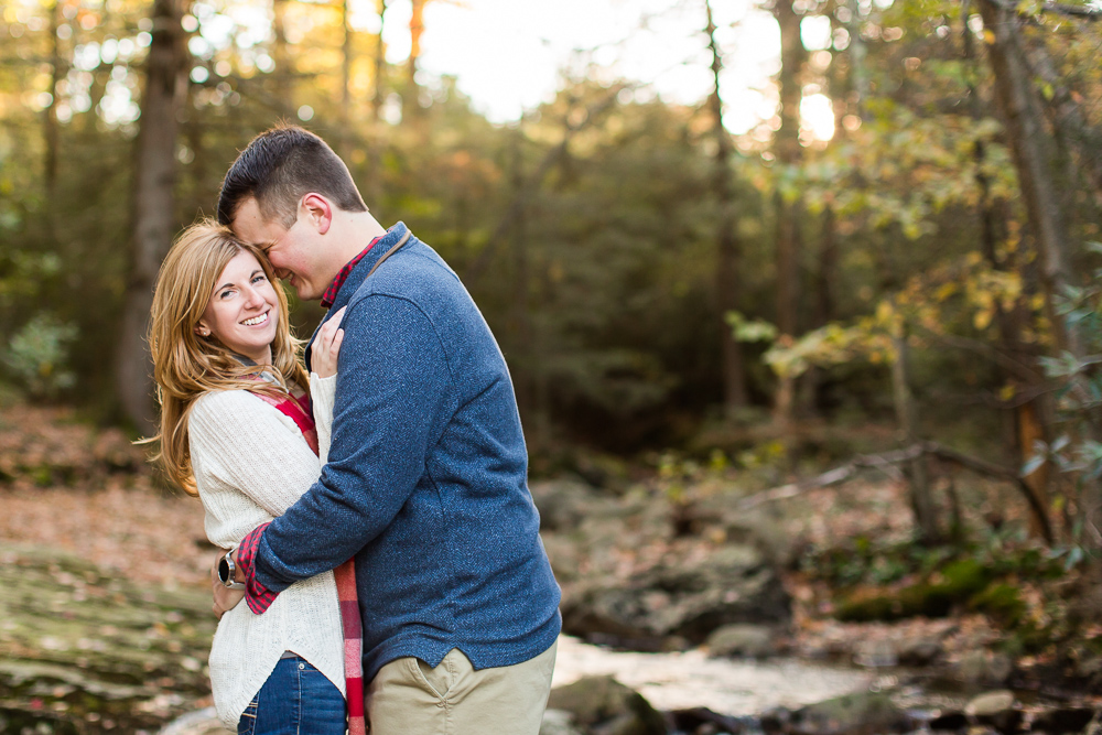 Fall engagement pictures in a creek at Minnewaska State Park   Hudson Valley NY Engagement Photo Location Ideas