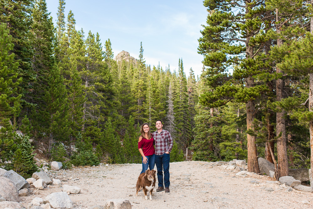 Happy couple on the trail at St. Mary's Glacier in Idaho Springs, CO | Colorado Adventure Photographer