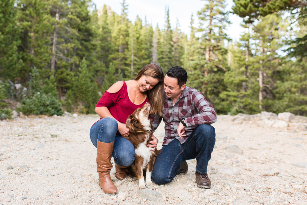 Sweet dog looking up at his parents during an adventure photo shoot in Idaho Springs, Colorado