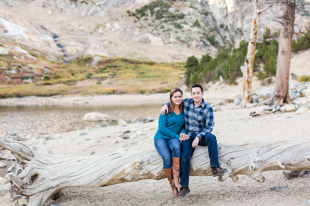 Happy couple at the end of their fall hike at St. Mary's Glacier