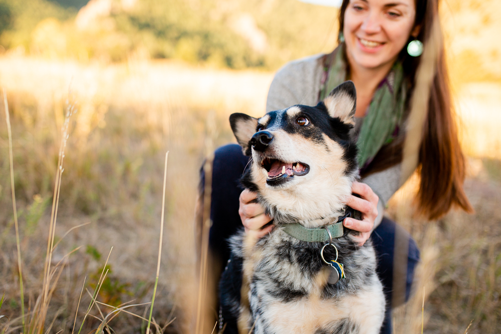 Sweet photo of a dog mom and her blue heeler dog | Boulder Colorado dog photographer