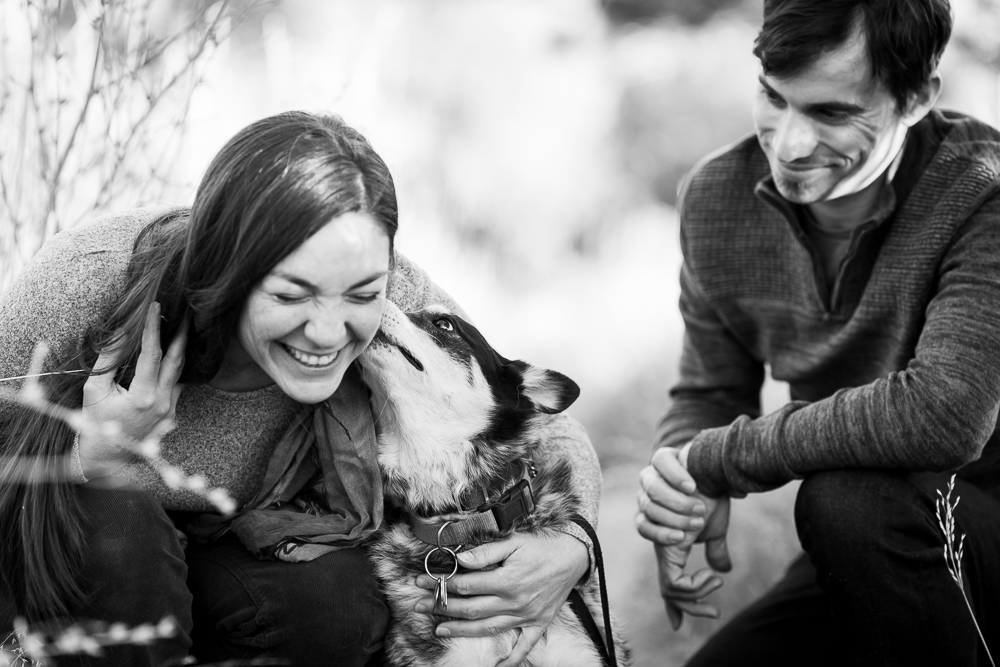 Cattle dog giving her mom a kiss on the cheek during their hike | Candid Colorado Photographer