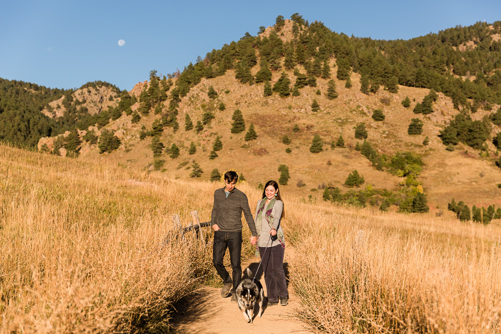 Adventure session with couple and their cattle dog at the Flatirons in Boulder, Colorado | Boulder Engagement Photographer