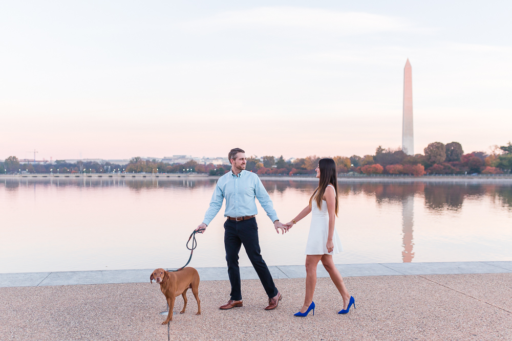 Sunrise engagement session with their dog by the Jefferson Memorial and Tidal Basin | DC Monuments Engagement Photography
