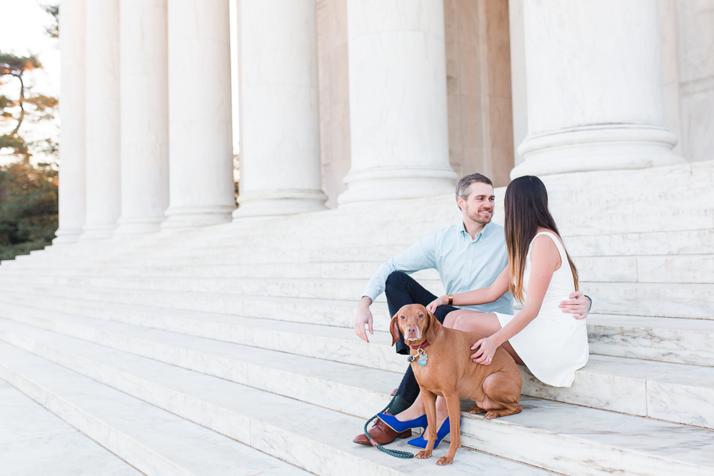 Engagement photo on the steps of the Thomas Jefferson Memorial with their dog | Jefferson Memorial Engagement Session