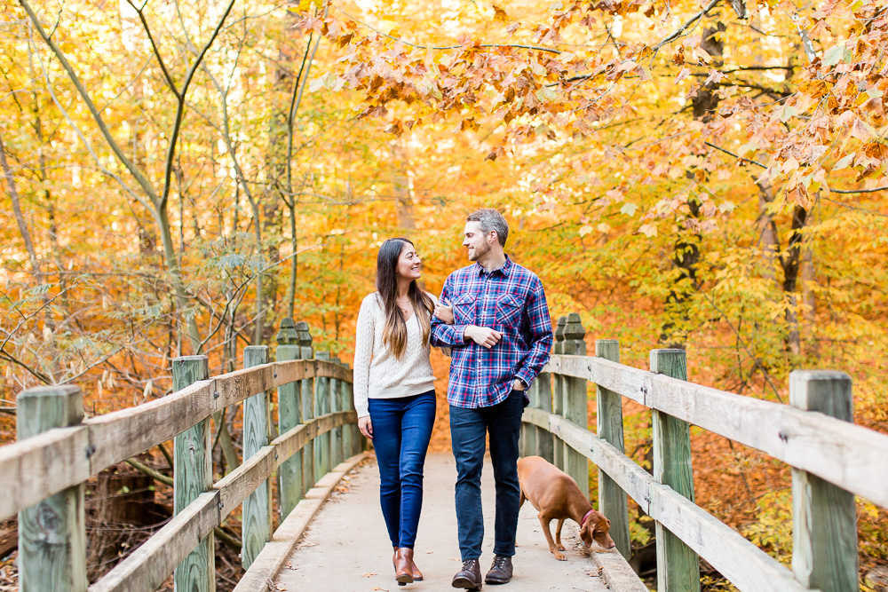 Walking across the bridge with their dog during fall photos at Rock Creek Park | Fall Engagement Photo Locations in DC
