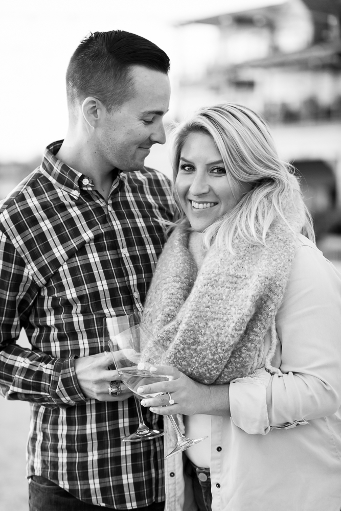 Happy couple during their engagement photos in Leesburg, Virginia