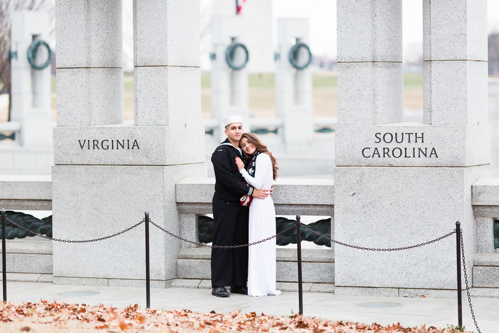 Husband and wife at the World War II Memorial on the National Mall for their one year anniversary photo shoot