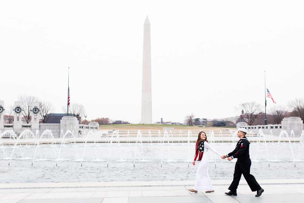 National Mall wedding pictures with military couple at the World War II Memorial and Washington Monument