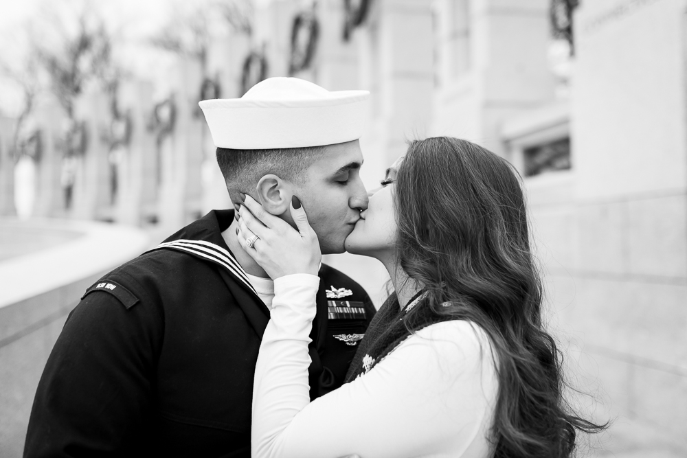 Romantic wedding photo of military couple kissing at the DC monuments | Washington DC military wedding pictures