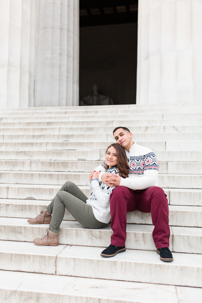 Married couple on the steps of the Lincoln Memorial in Washington, DC