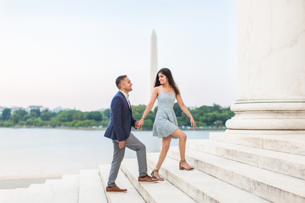 Engagement photo on the steps of the Thomas Jefferson Memorial in Washington, DC