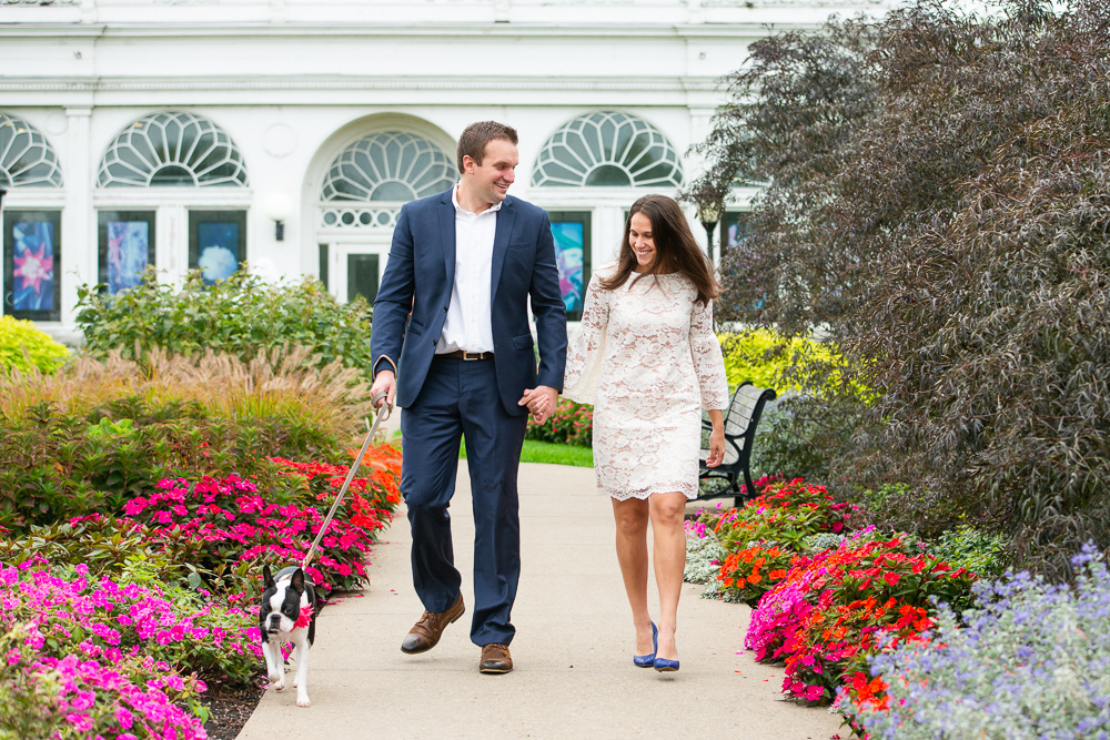 Engagement photos at the botanical gardens with a cute Boston Terrier | Candid Northern Virginia engagement photography