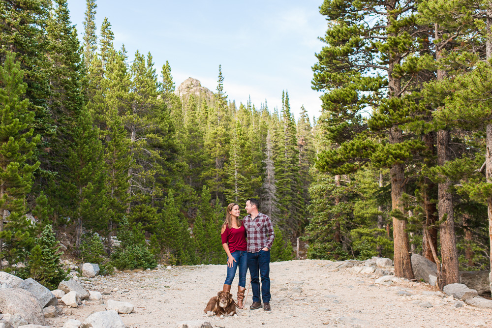 Mountain engagement pictures with adventurous couple and their Australian shepherd | Virginia mountain photographer