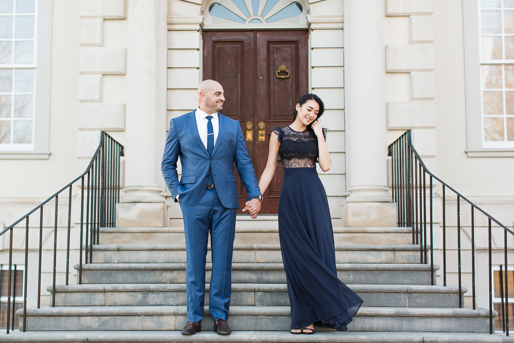 Engagement photos on the steps of the Great Marsh Estate in Fauquier County, Virginia | Best places to take engagement pictures in Northern Virginia