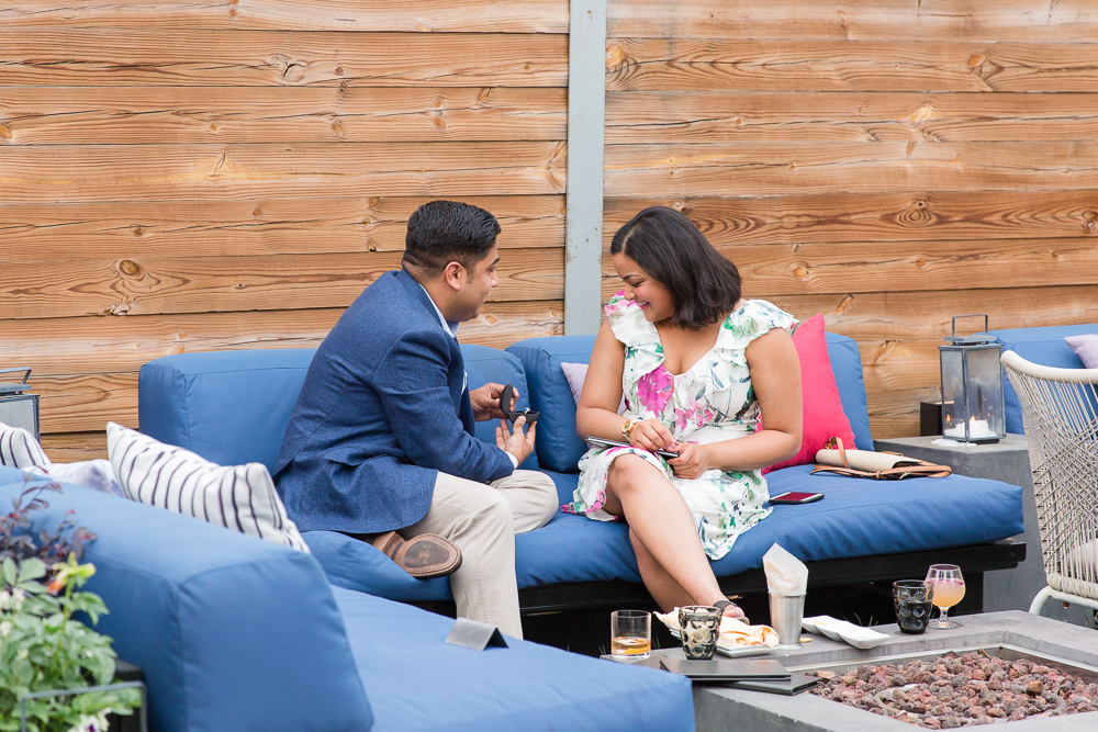 Surprise proposal at Masseria restaurant in Washington, DC | Best proposal and engagement photography in DC
