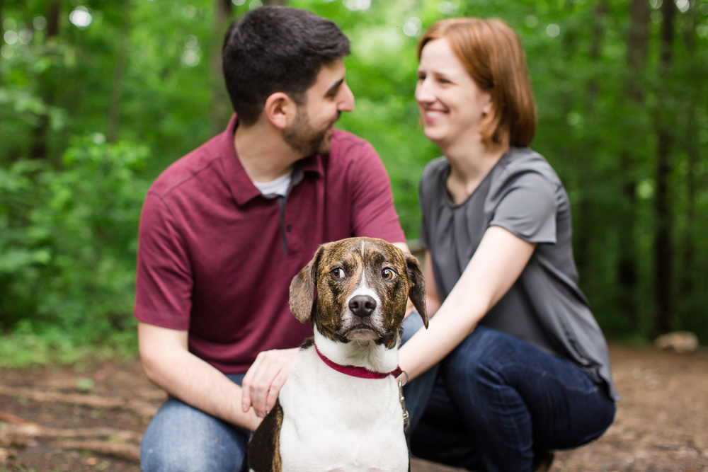 Fun engagement session in the woods with a dog | Candid Northern Virginia engagement photography