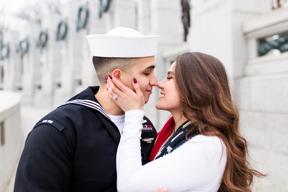 Military engagement pictures at the Washington DC monuments