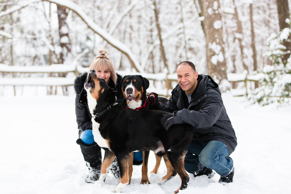Funny moment with dog howling during the engagement session