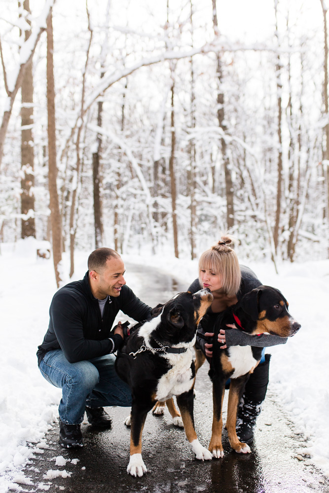 Dog parents giving kisses during a snowy engagement shoot in Northern Virginia