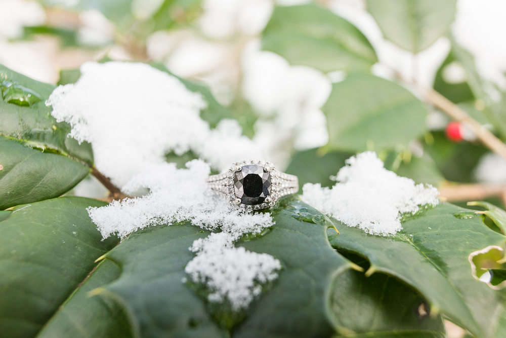 Engagement ring with holly and snow during a winter engagement session | Northern Virginia winter engagement photos