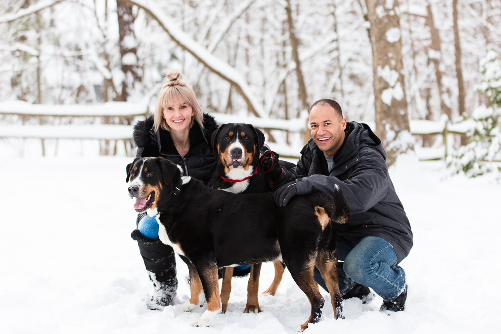 Engaged couple with their two dogs smiling at the camera | Snowy engagement session in Reston, VA