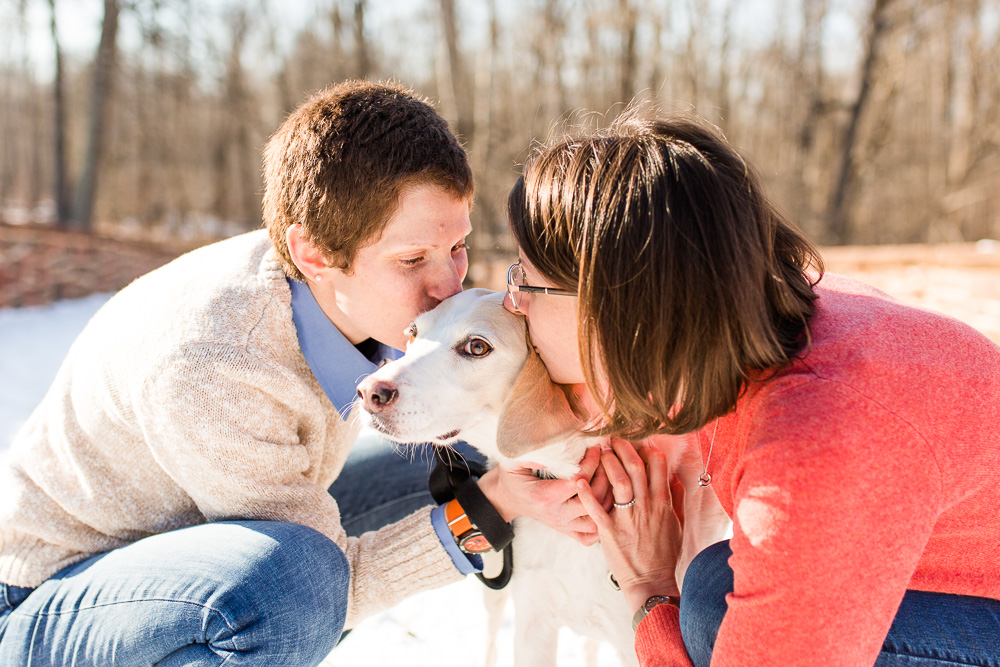 Giving their dog a kiss on the cheek | Manassas, Virginia engagement session