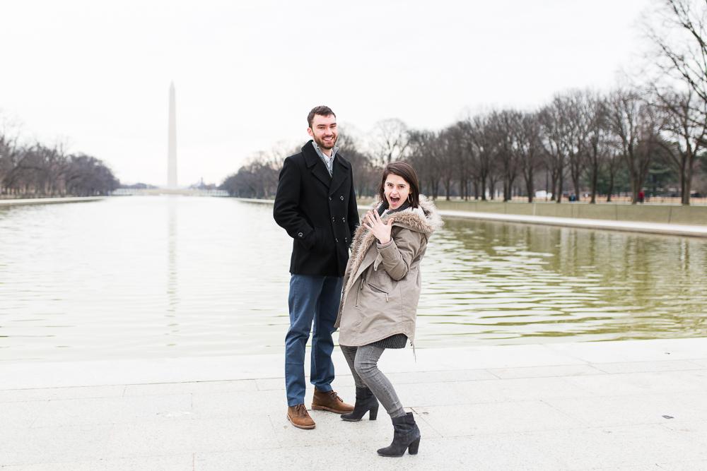 Surprise proposal at the Reflecting Pool in Washington, DC