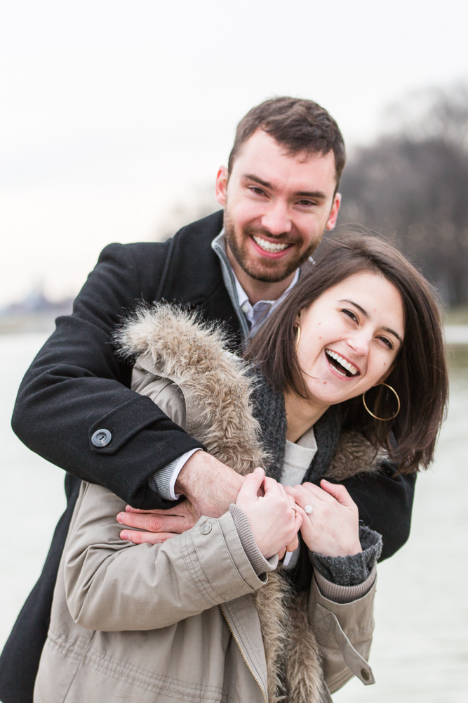 Candid engagement pictures during winter engagement session in Washington DC